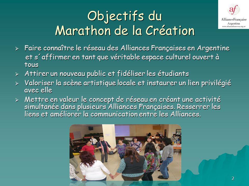 3 Principes du Marathon Activité conçue pour rendre hommage à tous les arts et pour promouvoir les artistes professionnels et amateurs locaux.