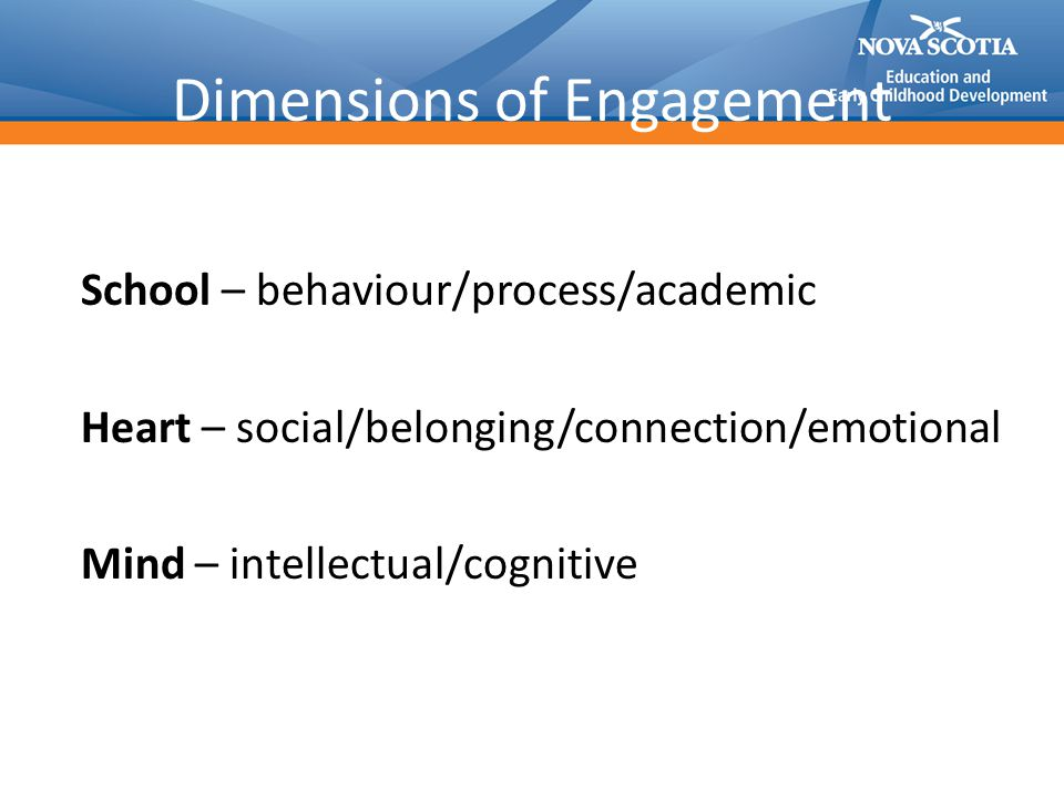Dimensions of Engagement School – behaviour/process/academic Heart – social/belonging/connection/emotional Mind – intellectual/cognitive