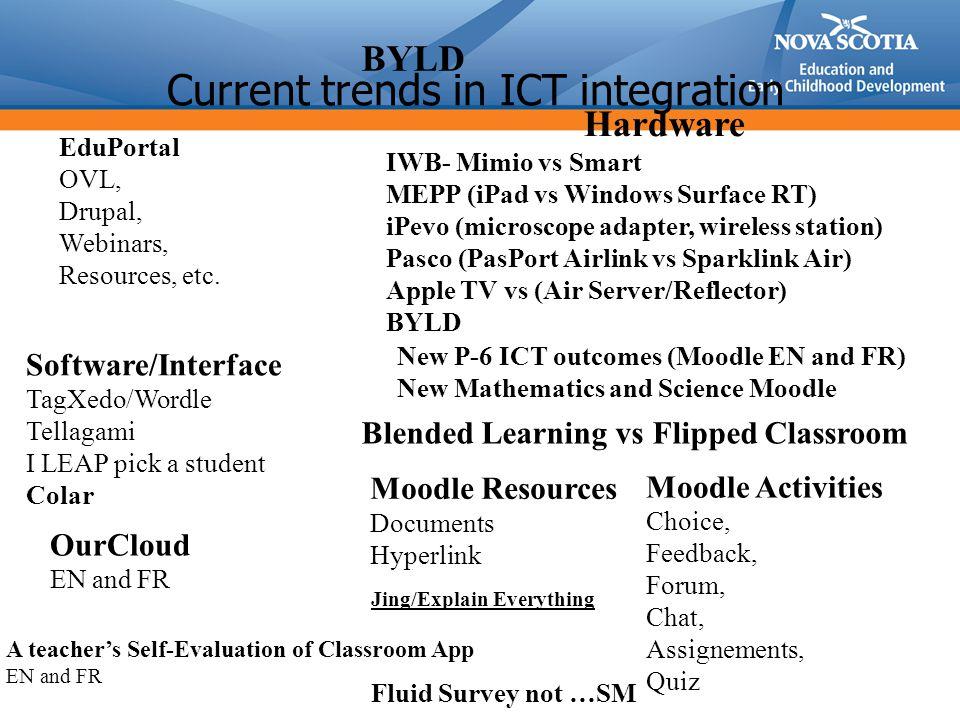 Moodle 1.9 at 2.4 Moodle 2.4 –Mathématiques P-3(FR), 7-9 et 10 disponible en janvier –TIC, M-6 13 résultats dapprentissage par niveau –Enseignement hybride