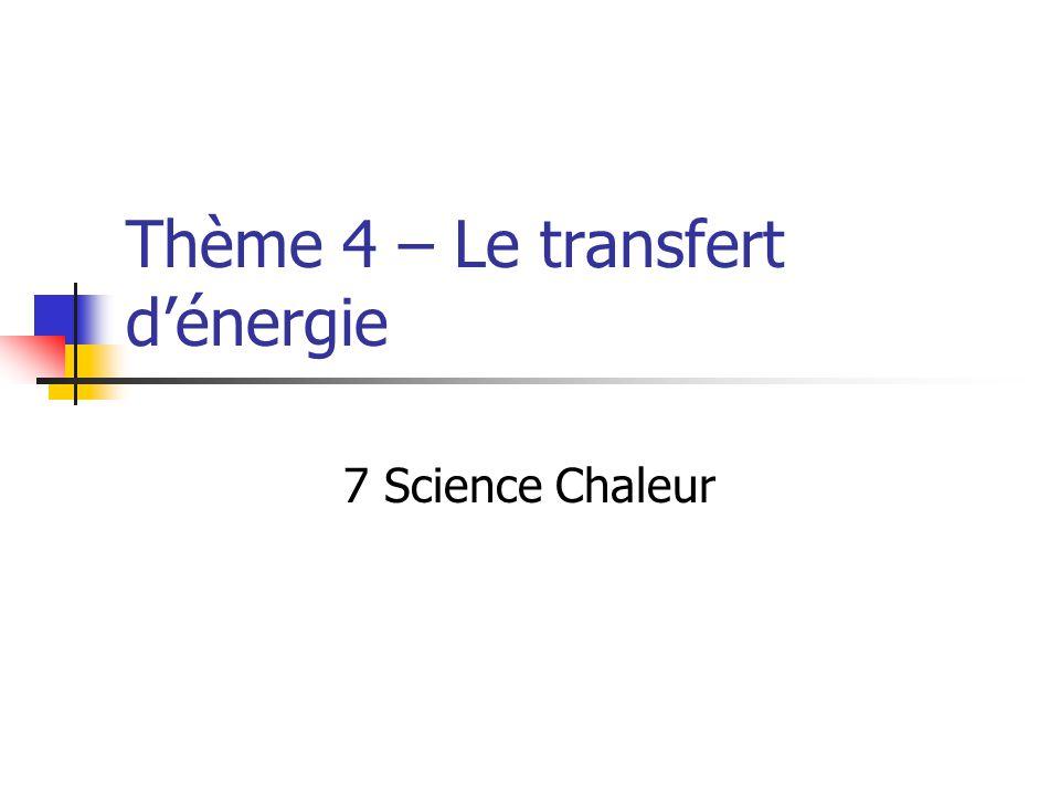Thème 4 – Le transfert dénergie 7 Science Chaleur