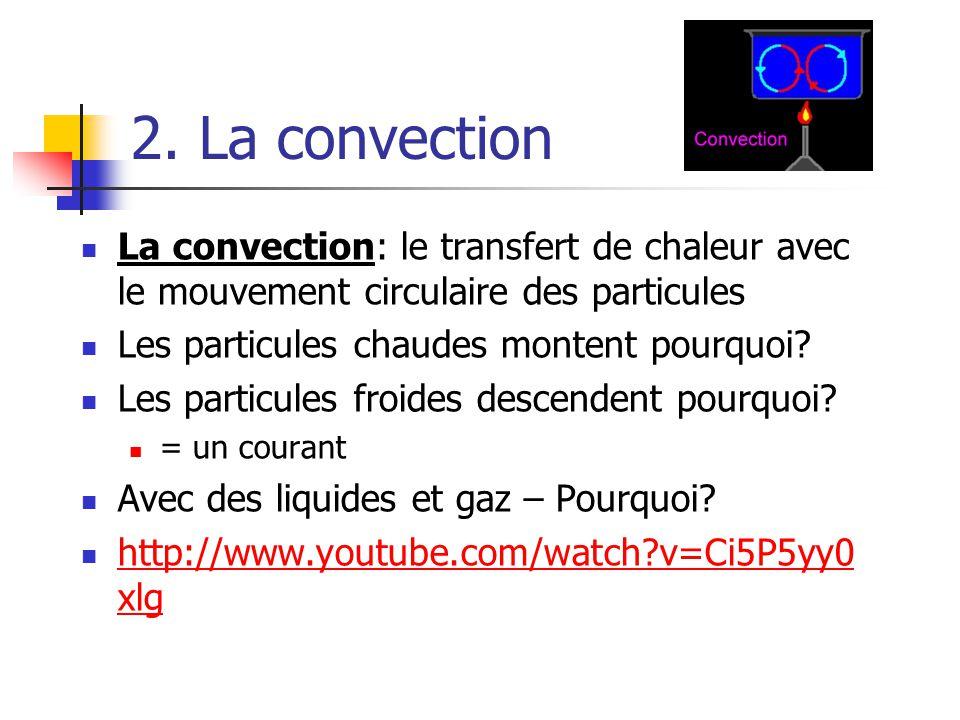 2. La convection La convection: le transfert de chaleur avec le mouvement circulaire des particules Les particules chaudes montent pourquoi? Les parti