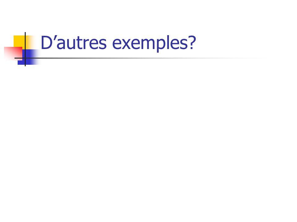 Dautres exemples?