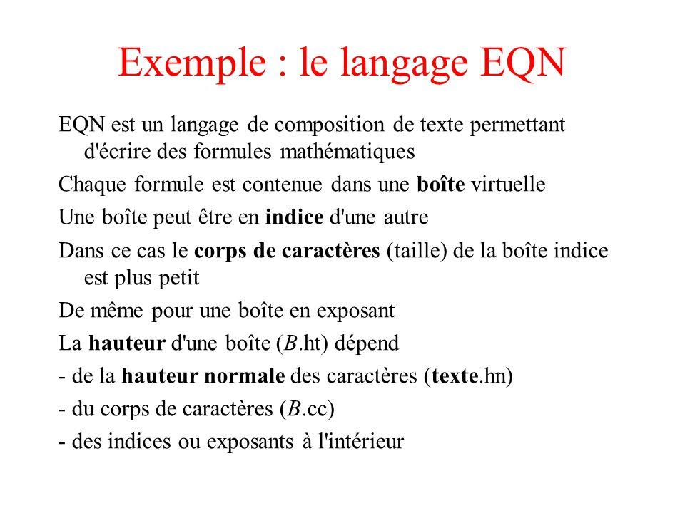 Exemple : le langage EQN EQN est un langage de composition de texte permettant d'écrire des formules mathématiques Chaque formule est contenue dans un
