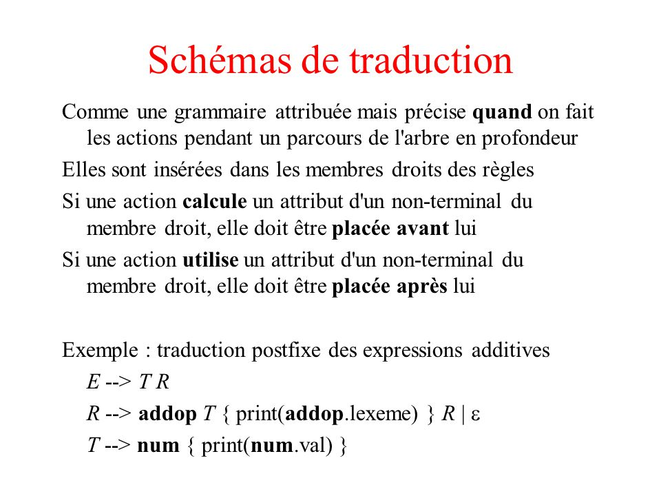 Schémas de traduction Comme une grammaire attribuée mais précise quand on fait les actions pendant un parcours de l'arbre en profondeur Elles sont ins