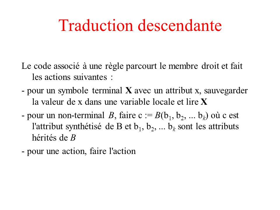 Traduction descendante Le code associé à une règle parcourt le membre droit et fait les actions suivantes : - pour un symbole terminal X avec un attri