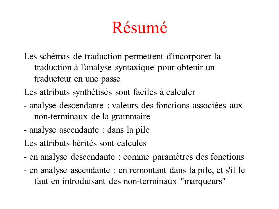 Résumé Les schémas de traduction permettent d'incorporer la traduction à l'analyse syntaxique pour obtenir un traducteur en une passe Les attributs sy