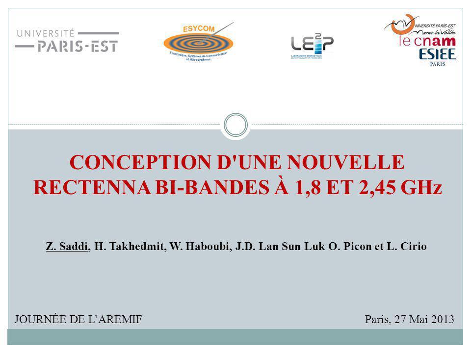 CONCEPTION D'UNE NOUVELLE RECTENNA BI-BANDES À 1,8 ET 2,45 GHz JOURNÉE DE LAREMIF Z. Saddi, H. Takhedmit, W. Haboubi, J.D. Lan Sun Luk O. Picon et L.