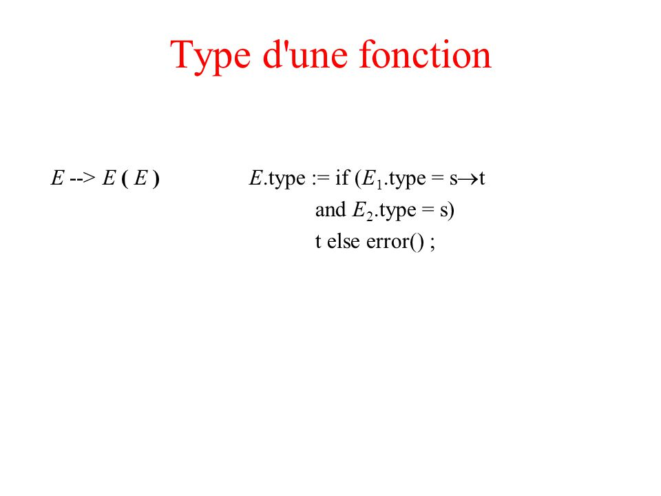Type d une fonction E --> E ( E ) E.type := if (E 1.type = s t and E 2.type = s) t else error() ;