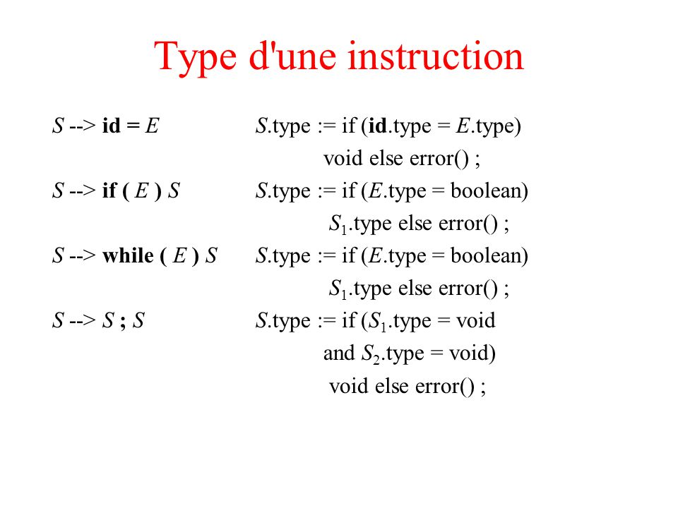 Type d'une instruction S --> id = ES.type := if (id.type = E.type) void else error() ; S --> if ( E ) SS.type := if (E.type = boolean) S 1.type else e