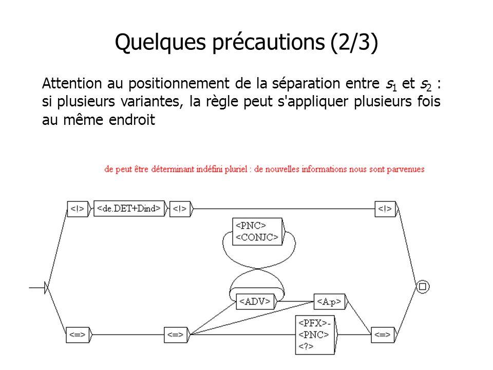 Quelques précautions (2/3) Attention au positionnement de la séparation entre s 1 et s 2 : si plusieurs variantes, la règle peut s appliquer plusieurs fois au même endroit s1s1 s2s2