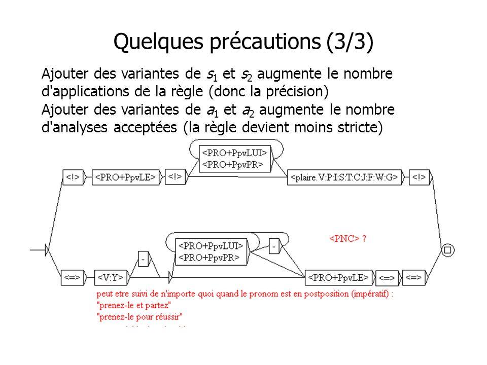 Quelques précautions (3/3) Ajouter des variantes de s 1 et s 2 augmente le nombre d applications de la règle (donc la précision) Ajouter des variantes de a 1 et a 2 augmente le nombre d analyses acceptées (la règle devient moins stricte)