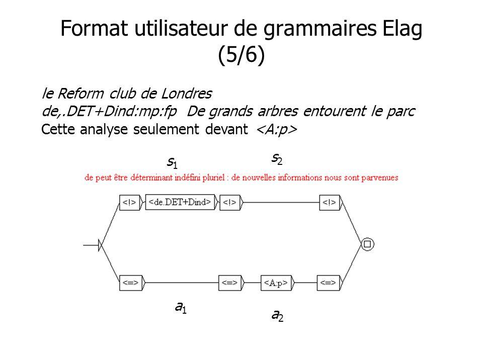 Format utilisateur de grammaires Elag (5/6) le Reform club de Londres de,.DET+Dind:mp:fpDe grands arbres entourent le parc Cette analyse seulement devant s1s1 s2s2 a1a1 a2a2