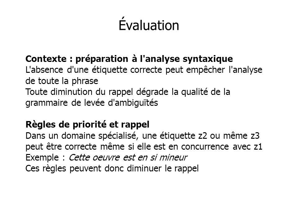Évaluation Contexte : préparation à l analyse syntaxique L absence d une étiquette correcte peut empêcher l analyse de toute la phrase Toute diminution du rappel dégrade la qualité de la grammaire de levée d ambiguïtés Règles de priorité et rappel Dans un domaine spécialisé, une étiquette z2 ou même z3 peut être correcte même si elle est en concurrence avec z1 Exemple : Cette oeuvre est en si mineur Ces règles peuvent donc diminuer le rappel