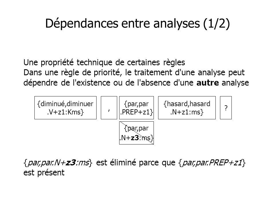 Dépendances entre analyses (1/2) Une propriété technique de certaines règles Dans une règle de priorité, le traitement d'une analyse peut dépendre de