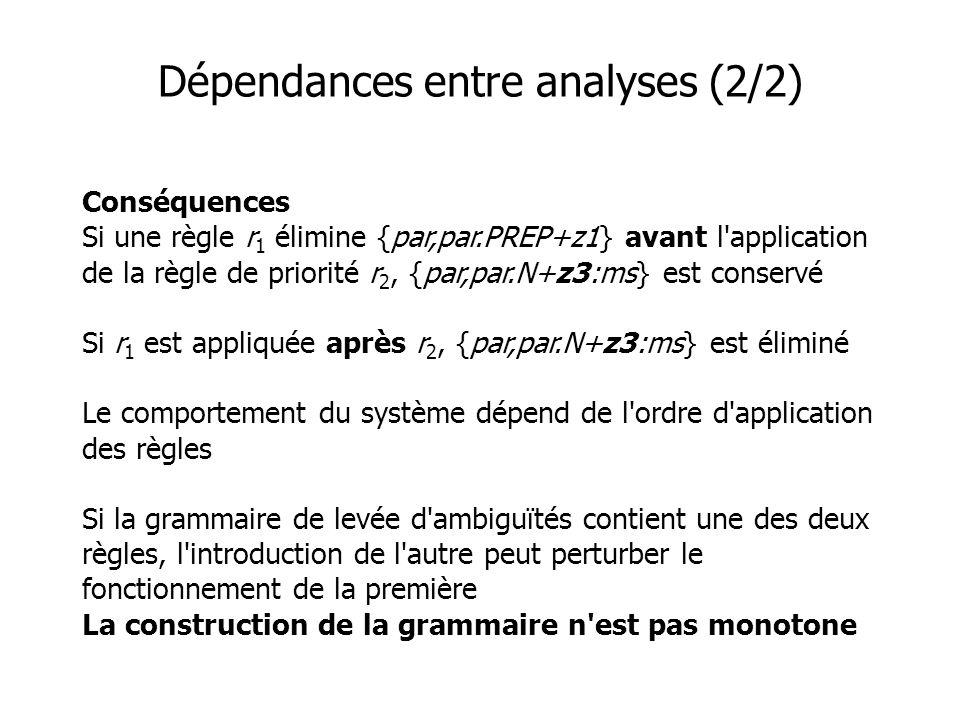 Dépendances entre analyses (2/2) Conséquences Si une règle r 1 élimine {par,par.PREP+z1} avant l application de la règle de priorité r 2, {par,par.N+z3:ms} est conservé Si r 1 est appliquée après r 2, {par,par.N+z3:ms} est éliminé Le comportement du système dépend de l ordre d application des règles Si la grammaire de levée d ambiguïtés contient une des deux règles, l introduction de l autre peut perturber le fonctionnement de la première La construction de la grammaire n est pas monotone