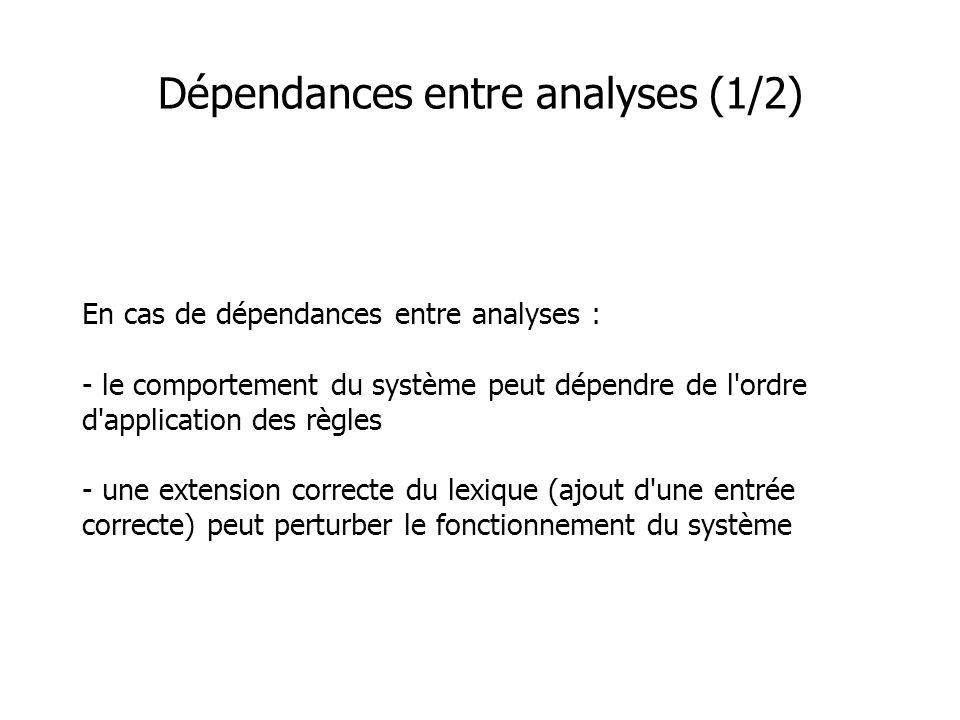 Dépendances entre analyses (1/2) En cas de dépendances entre analyses : - le comportement du système peut dépendre de l'ordre d'application des règles