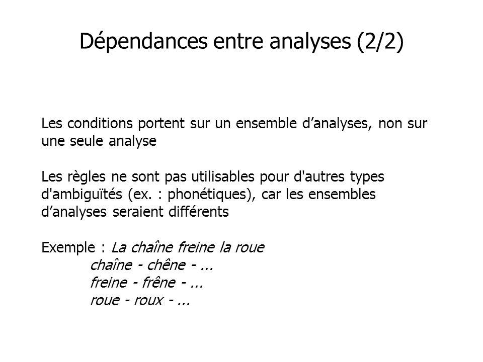 Dépendances entre analyses (2/2) Les conditions portent sur un ensemble danalyses, non sur une seule analyse Les règles ne sont pas utilisables pour d autres types d ambiguïtés (ex.