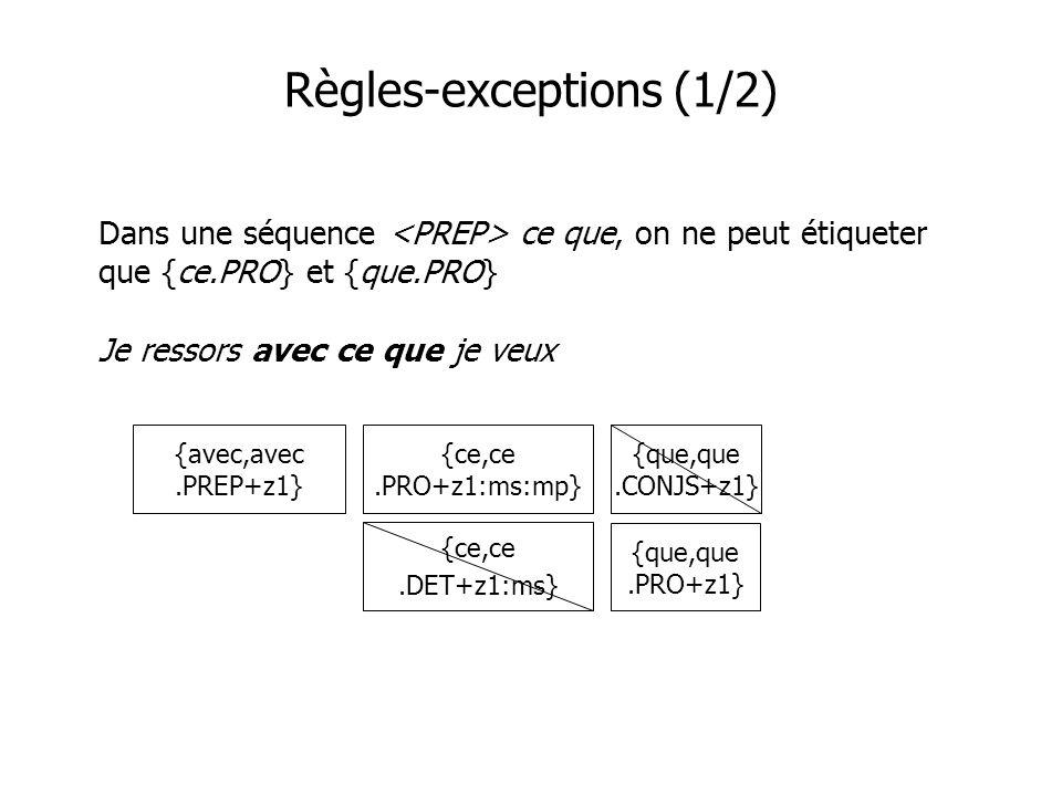 Règles-exceptions (1/2) Dans une séquence ce que, on ne peut étiqueter que {ce.PRO} et {que.PRO} Je ressors avec ce que je veux {avec,avec.PREP+z1} {ce,ce.PRO+z1:ms:mp} {ce,ce.DET+z1:ms} {que,que.CONJS+z1} {que,que.PRO+z1}