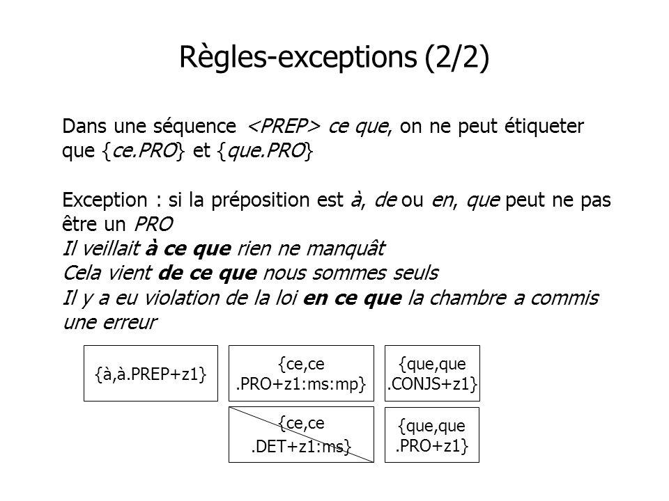 Règles-exceptions (2/2) Dans une séquence ce que, on ne peut étiqueter que {ce.PRO} et {que.PRO} Exception : si la préposition est à, de ou en, que pe