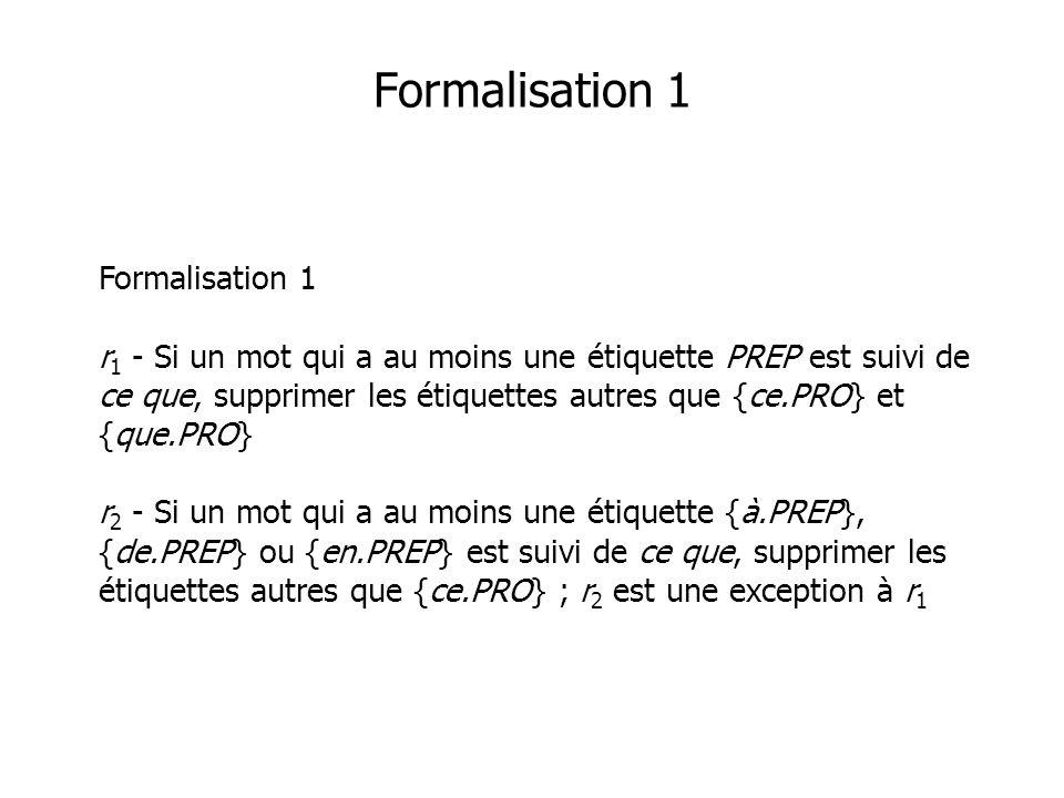 Formalisation 1 Formalisation 1 r 1 - Si un mot qui a au moins une étiquette PREP est suivi de ce que, supprimer les étiquettes autres que {ce.PRO} et {que.PRO} r 2 - Si un mot qui a au moins une étiquette {à.PREP}, {de.PREP} ou {en.PREP} est suivi de ce que, supprimer les étiquettes autres que {ce.PRO} ; r 2 est une exception à r 1