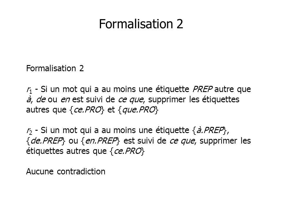Formalisation 2 Formalisation 2 r 1 - Si un mot qui a au moins une étiquette PREP autre que à, de ou en est suivi de ce que, supprimer les étiquettes autres que {ce.PRO} et {que.PRO} r 2 - Si un mot qui a au moins une étiquette {à.PREP}, {de.PREP} ou {en.PREP} est suivi de ce que, supprimer les étiquettes autres que {ce.PRO} Aucune contradiction