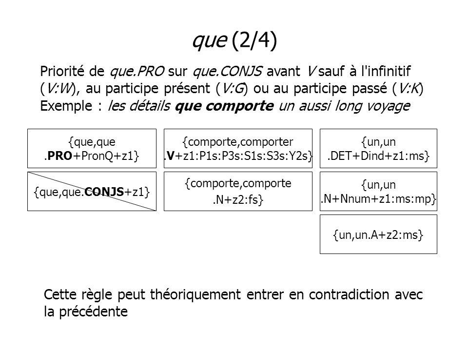 que (2/4) Priorité de que.PRO sur que.CONJS avant V sauf à l infinitif (V:W), au participe présent (V:G) ou au participe passé (V:K) Exemple : les détails que comporte un aussi long voyage {que,que.PRO+PronQ+z1} {un,un.DET+Dind+z1:ms} {comporte,comporter.V+z1:P1s:P3s:S1s:S3s:Y2s} {comporte,comporte.N+z2:fs} {que,que.CONJS+z1} Cette règle peut théoriquement entrer en contradiction avec la précédente {un,un.N+Nnum+z1:ms:mp} {un,un.A+z2:ms}