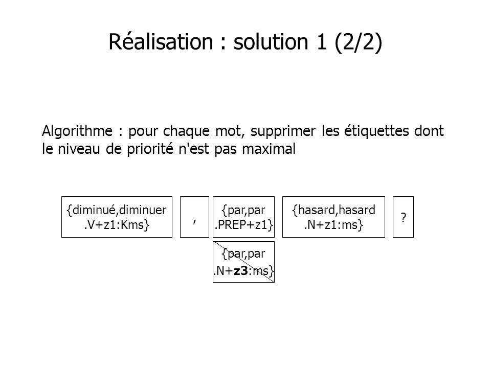 Réalisation : solution 1 (2/2) Algorithme : pour chaque mot, supprimer les étiquettes dont le niveau de priorité n'est pas maximal {diminué,diminuer.V