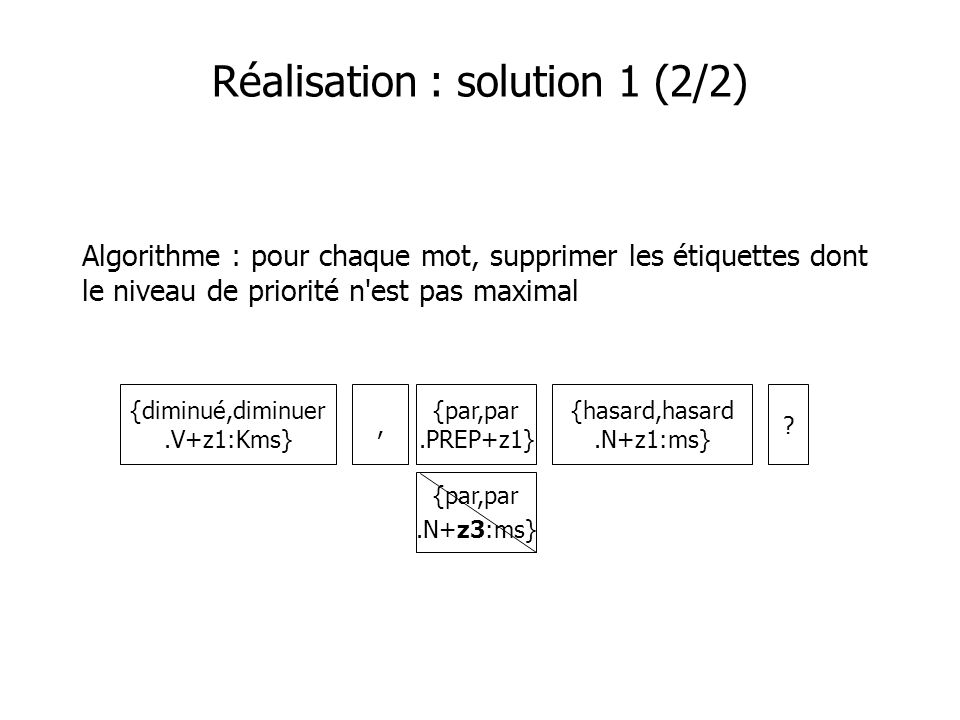 Réalisation : solution 2 (1/3) Solution 2 : table avec expressions multi-mots {diminué,diminuer.V+z1:Kms} {hasard,hasard.N+z1:ms},.