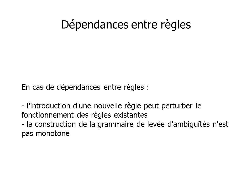 Dépendances entre règles En cas de dépendances entre règles : - l introduction d une nouvelle règle peut perturber le fonctionnement des règles existantes - la construction de la grammaire de levée d ambiguïtés n est pas monotone