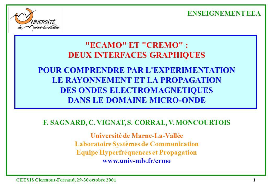 CETSIS Clermont-Ferrand, 29-30 octobre 200121 2.a Procédure de traitement des données expérimentales dans le cas de la méthode de Fresnel permittivité réelle (1) Relevé à partir des mesures de ( B |r p | 2 /|r s | 2 ) (2) 1 ère estimation de r à partir des mesures de ( B |r p | 2 /|r s | 2 ) permittivité réelle permittivité imaginaire |r p | 2 coefficients de réflexion angle d incidence i [degrés] |r s | 2 |r p | 2 /|r s | 2 |r p | 2 /|r s | 2 (dB) B (5) Incertitudes sur r et r permittivité réelle permittivité imaginaire (3) 2 nde estimation de r par moindres carrés à partir de |r p | 2 /|r s | 2 coefficients de réflexion angle d incidence i [degrés] |r p | 2 /|r s | 2 mesuré |r p | 2 /|r s | 2 calculé coefficients de réflexion angle d incidence i [degrés] |r s | 2 calculé |r p | 2 calculé (4) 3 ème estimation de r par moindres carrés à partir de |r p | 2 et |r s | 2