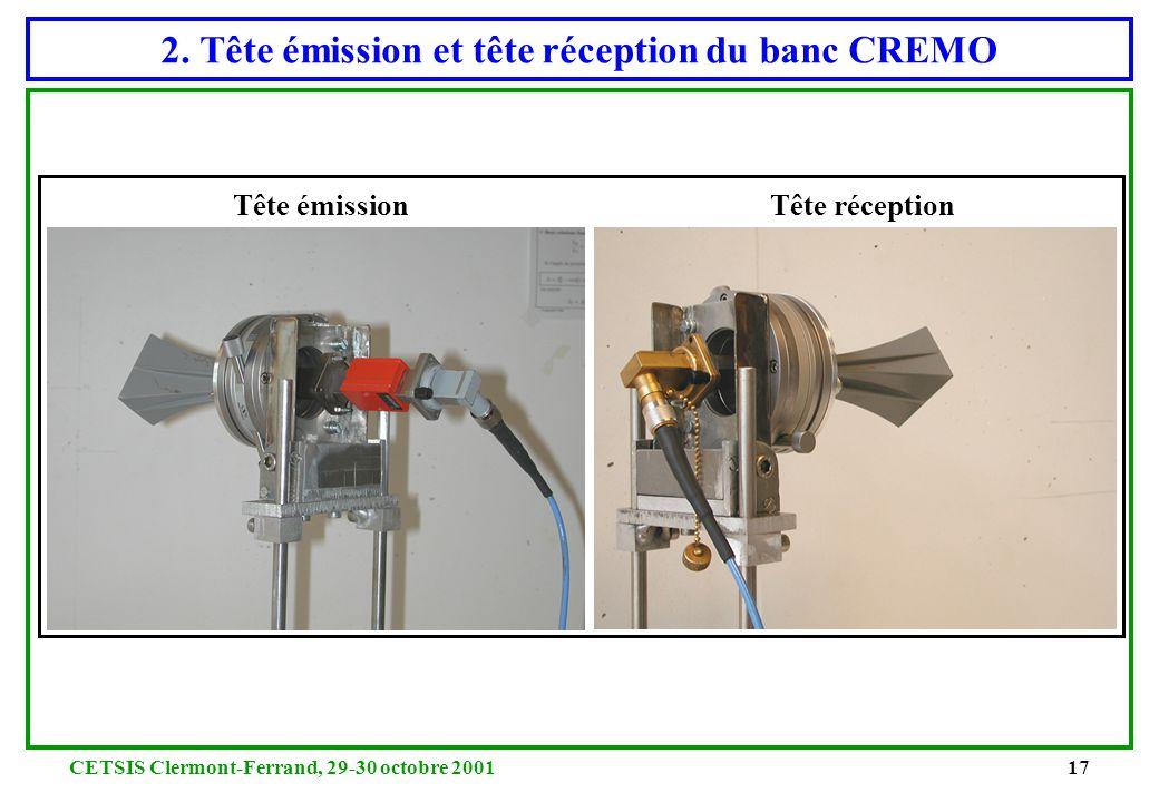 CETSIS Clermont-Ferrand, 29-30 octobre 200116 2. Photo de CREMO en configuration réflexion antenne de réception antenne d'émission bolomètre générateu