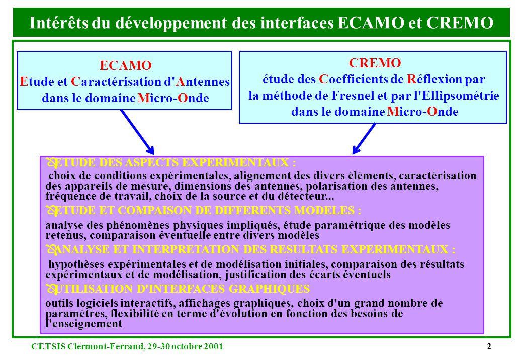 CETSIS Clermont-Ferrand, 29-30 octobre 20012 Intérêts du développement des interfaces ECAMO et CREMO ECAMO Etude et Caractérisation d Antennes dans le domaine Micro-Onde CREMO étude des Coefficients de Réflexion par la méthode de Fresnel et par l Ellipsométrie dans le domaine Micro-Onde Ô ETUDE DES ASPECTS EXPERIMENTAUX : choix de conditions expérimentales, alignement des divers éléments, caractérisation des appareils de mesure, dimensions des antennes, polarisation des antennes, fréquence de travail, choix de la source et du détecteur...