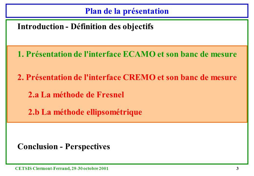 CETSIS Clermont-Ferrand, 29-30 octobre 200133 2.c Exploitation des courbes expérimentales - Ellipsométrie MO en réflexion - 2 panneaux de bois aggloméré d épaisseur finie i=35°, r =2.17-1.86j LOS= -16.7 dBm Pe=10 dBm i=40°, r =2.01-1.93j LOS= -16.7 dBm Pe=10 dBm i=45°, r =2.11-1.56j LOS= -16.7 dBm Pe=10 dBm i=50°, r =3.09-1.71j LOS= -18.5 dBm Pe=10 dBm i=55°, r =1.99-2.60j LOS= -20 dBm Pe=10 dBm Épaisseur=16 mm r = 2 - 1.9j r = 2.7 - 0.9j i=35°, r =2.74-0.86j LOS= -19.7 dBm Pe=10 dBm i=40°, r =2.89-0.90j LOS= -18.5 dBm Pe=10 dBm i=45°, r =1.58-0.59j LOS= -20 dBm Pe=10 dBm i=50°, r =1.55-0.33j LOS= -17 dBm Pe=11 dBm Épaisseur=10 mm