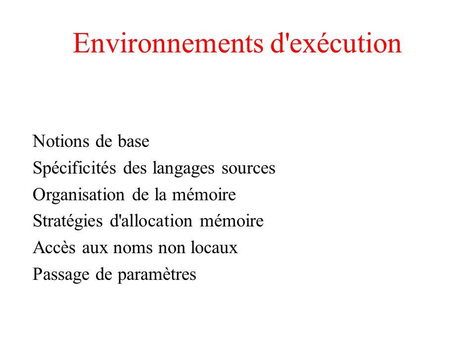 Environnements d'exécution Notions de base Spécificités des langages sources Organisation de la mémoire Stratégies d'allocation mémoire Accès aux noms