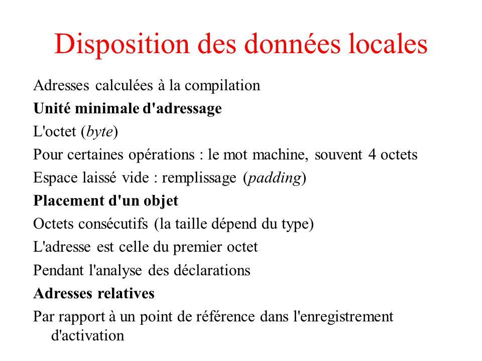 Disposition des données locales Adresses calculées à la compilation Unité minimale d'adressage L'octet (byte) Pour certaines opérations : le mot machi