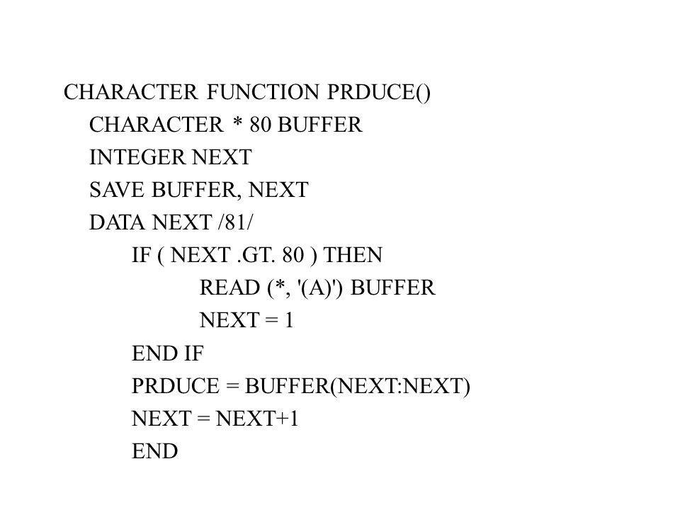 CHARACTER FUNCTION PRDUCE() CHARACTER * 80 BUFFER INTEGER NEXT SAVE BUFFER, NEXT DATA NEXT /81/ IF ( NEXT.GT. 80 ) THEN READ (*, '(A)') BUFFER NEXT =