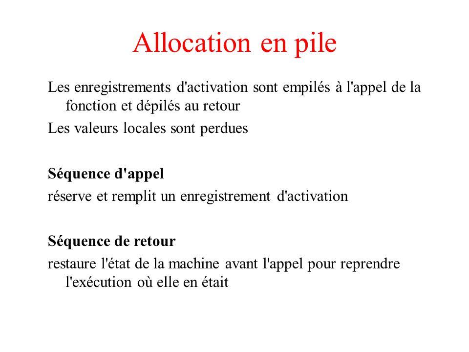 Allocation en pile Les enregistrements d activation sont empilés à l appel de la fonction et dépilés au retour Les valeurs locales sont perdues Séquence d appel réserve et remplit un enregistrement d activation Séquence de retour restaure l état de la machine avant l appel pour reprendre l exécution où elle en était