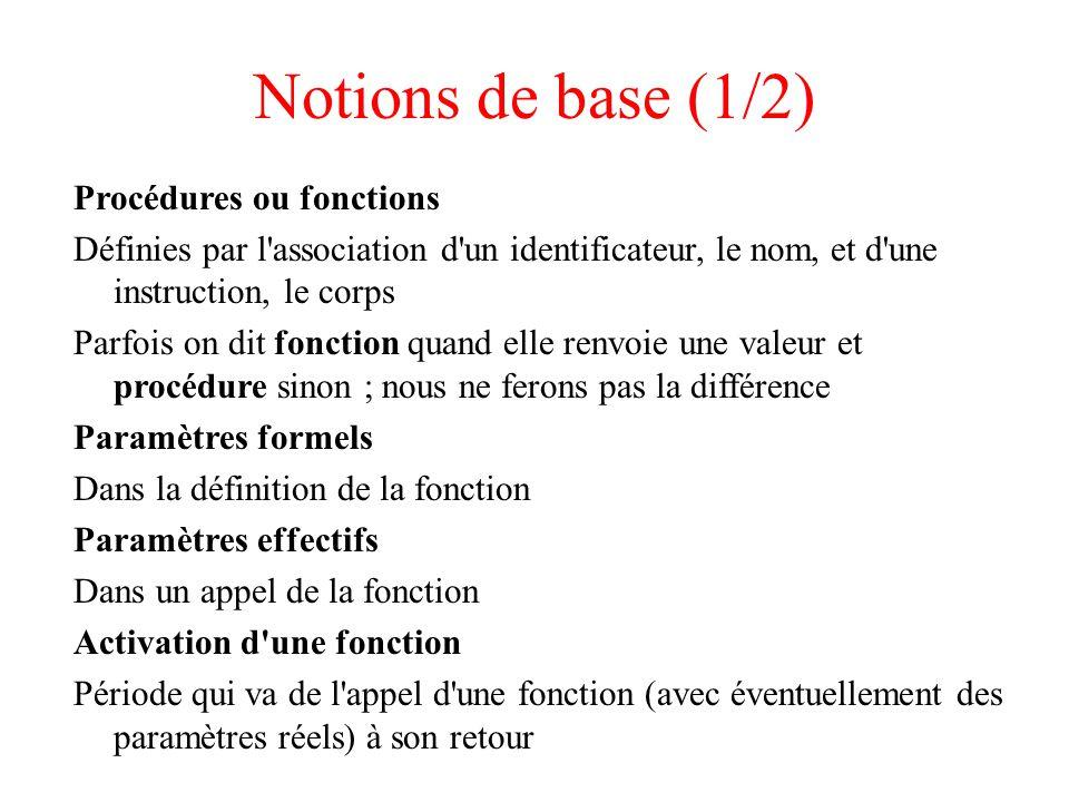 Notions de base (1/2) Procédures ou fonctions Définies par l association d un identificateur, le nom, et d une instruction, le corps Parfois on dit fonction quand elle renvoie une valeur et procédure sinon ; nous ne ferons pas la différence Paramètres formels Dans la définition de la fonction Paramètres effectifs Dans un appel de la fonction Activation d une fonction Période qui va de l appel d une fonction (avec éventuellement des paramètres réels) à son retour