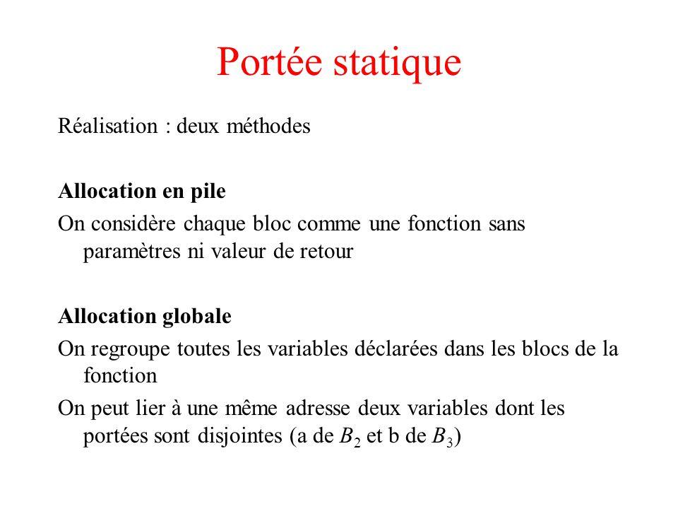 Portée statique Réalisation : deux méthodes Allocation en pile On considère chaque bloc comme une fonction sans paramètres ni valeur de retour Allocat