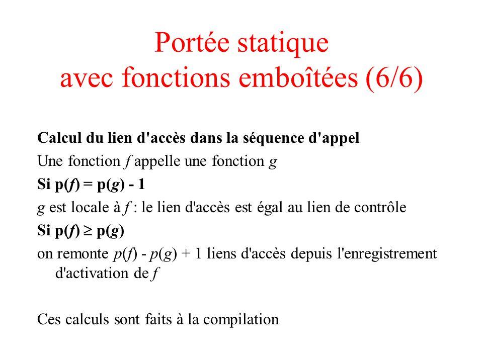 Portée statique avec fonctions emboîtées (6/6) Calcul du lien d accès dans la séquence d appel Une fonction f appelle une fonction g Si p(f) = p(g) - 1 g est locale à f : le lien d accès est égal au lien de contrôle Si p(f) p(g) on remonte p(f) - p(g) + 1 liens d accès depuis l enregistrement d activation de f Ces calculs sont faits à la compilation