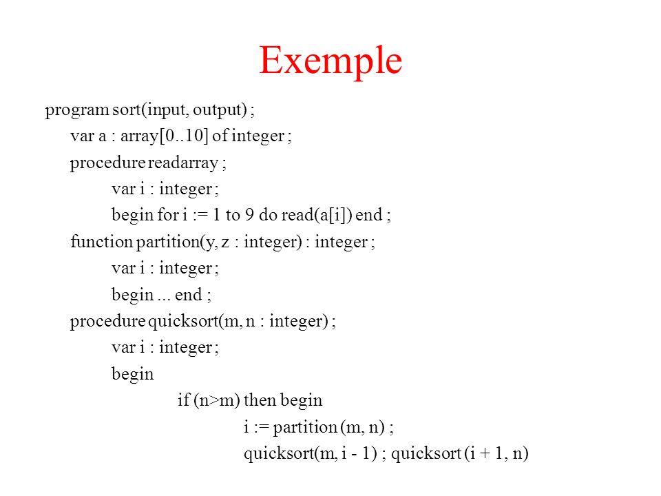 Exemple program sort(input, output) ; var a : array[0..10] of integer ; procedure readarray ; var i : integer ; begin for i := 1 to 9 do read(a[i]) end ; function partition(y, z : integer) : integer ; var i : integer ; begin...