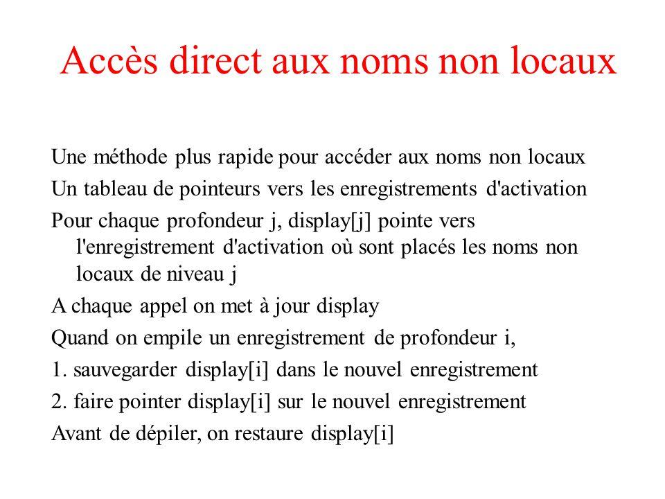 Accès direct aux noms non locaux Une méthode plus rapide pour accéder aux noms non locaux Un tableau de pointeurs vers les enregistrements d'activatio