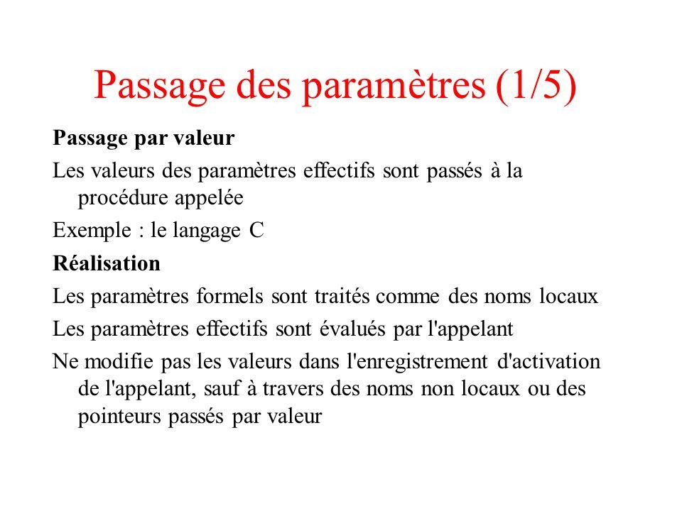 Passage des paramètres (1/5) Passage par valeur Les valeurs des paramètres effectifs sont passés à la procédure appelée Exemple : le langage C Réalisa