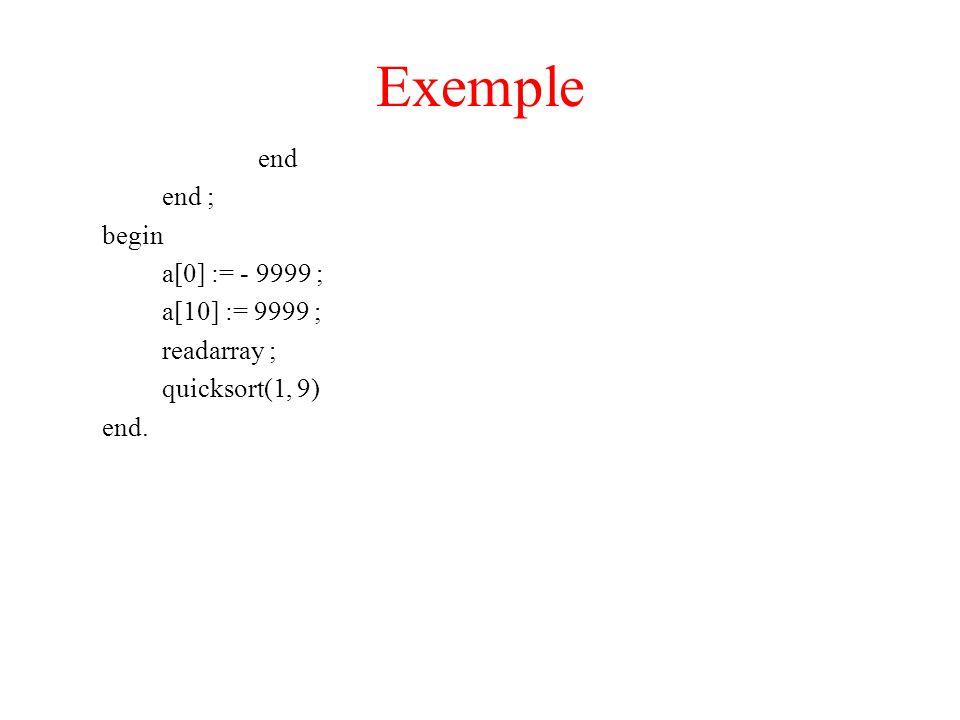 Exemple end end ; begin a[0] := - 9999 ; a[10] := 9999 ; readarray ; quicksort(1, 9) end.