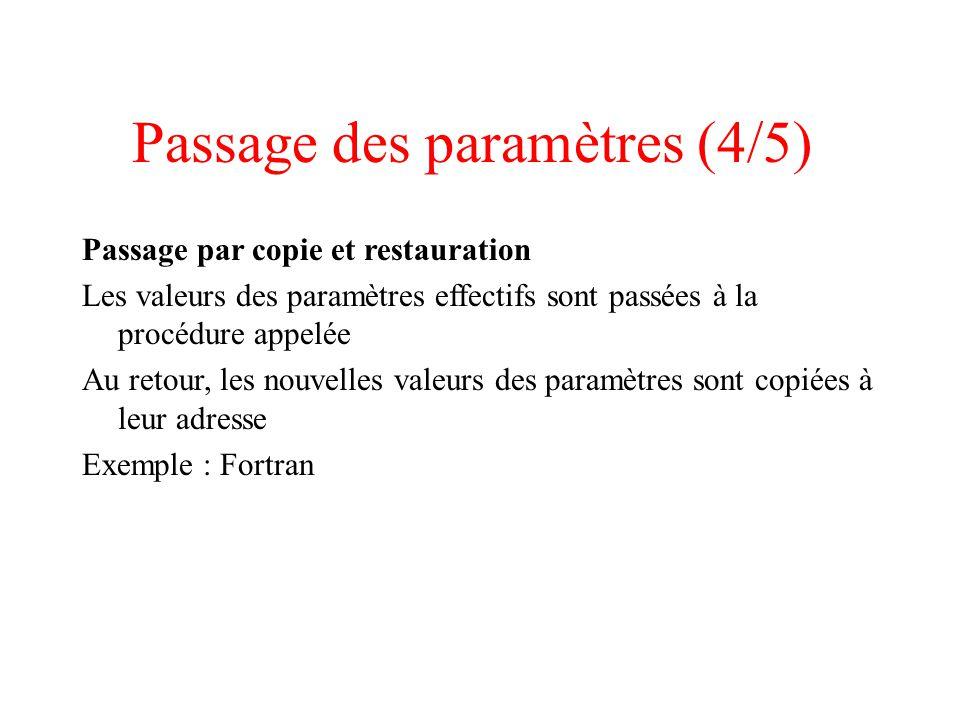 Passage des paramètres (4/5) Passage par copie et restauration Les valeurs des paramètres effectifs sont passées à la procédure appelée Au retour, les nouvelles valeurs des paramètres sont copiées à leur adresse Exemple : Fortran