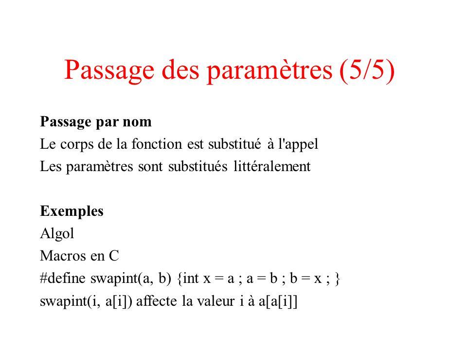 Passage des paramètres (5/5) Passage par nom Le corps de la fonction est substitué à l appel Les paramètres sont substitués littéralement Exemples Algol Macros en C #define swapint(a, b) {int x = a ; a = b ; b = x ; } swapint(i, a[i]) affecte la valeur i à a[a[i]]