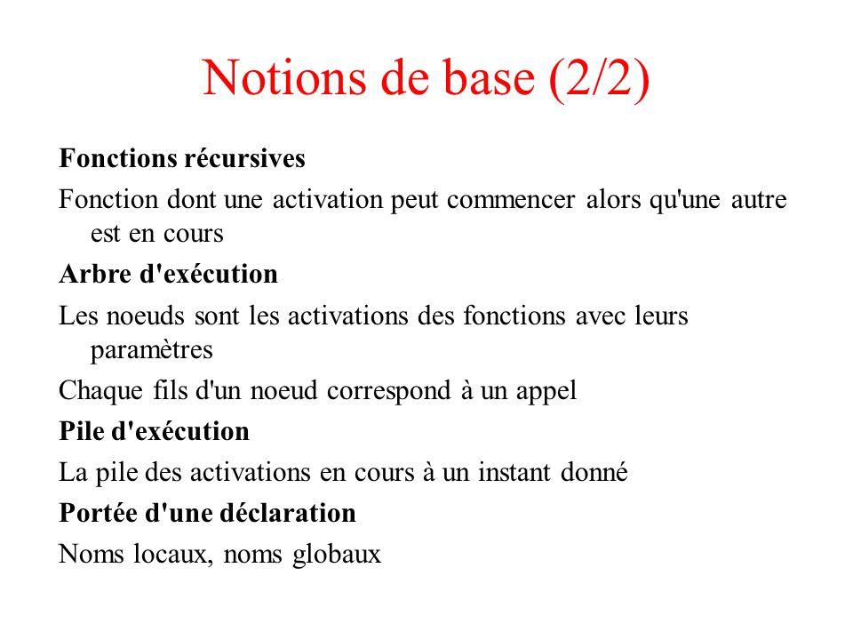 Notions de base (2/2) Fonctions récursives Fonction dont une activation peut commencer alors qu'une autre est en cours Arbre d'exécution Les noeuds so