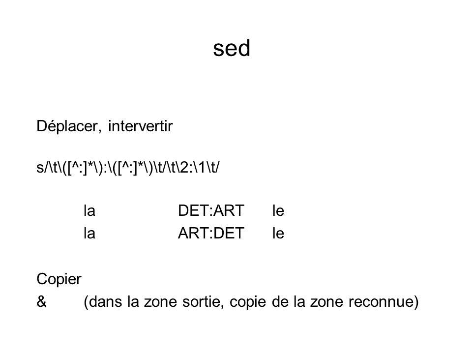 sed Déplacer, intervertir s/\t\([^:]*\):\([^:]*\)\t/\t\2:\1\t/ laDET:ARTle laART:DETle Copier &(dans la zone sortie, copie de la zone reconnue)