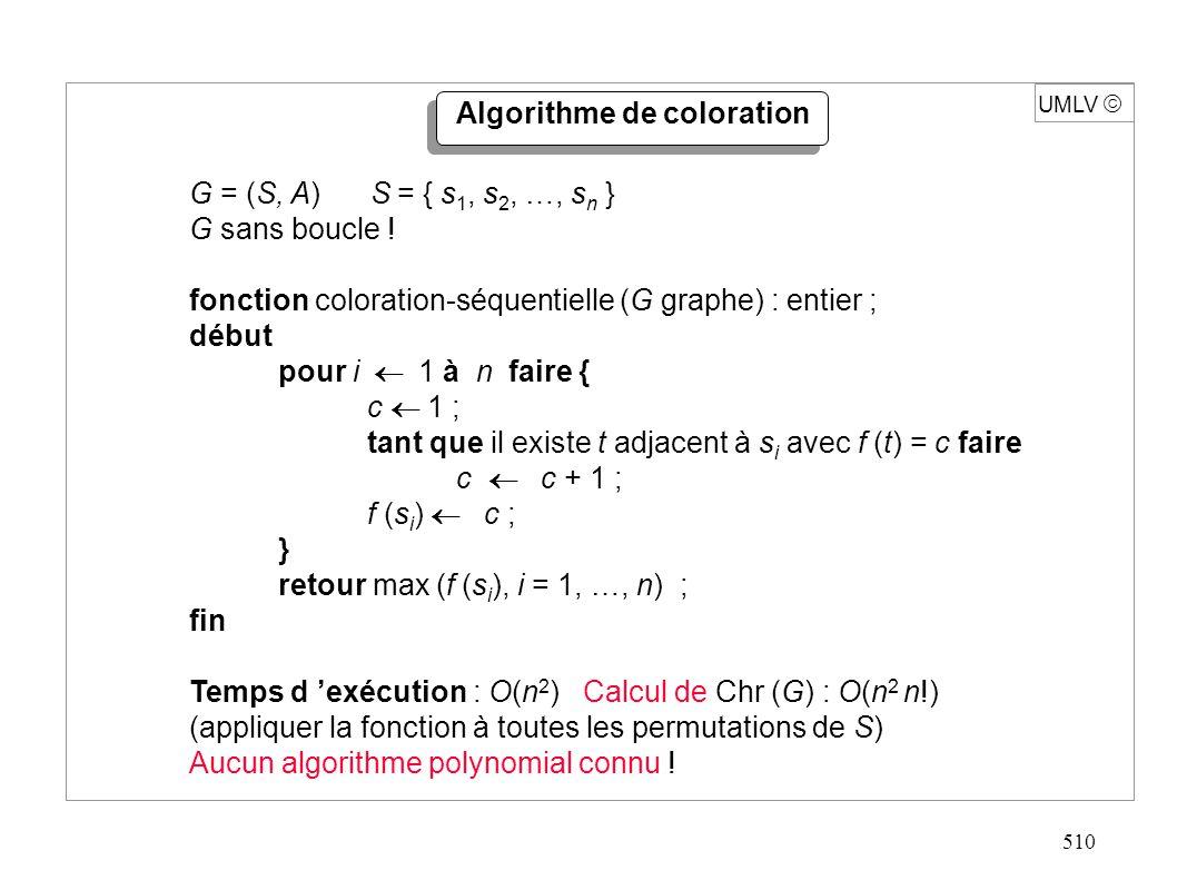 510 UMLV G = (S, A) S = { s 1, s 2, …, s n } G sans boucle ! fonction coloration-séquentielle (G graphe) : entier ; début pour i 1 à n faire { c 1 ; t