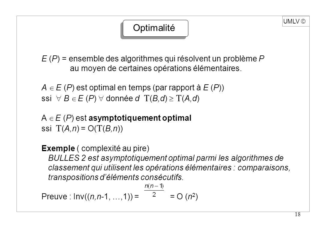 18 UMLV Optimalité E (P) = ensemble des algorithmes qui résolvent un problème P au moyen de certaines opérations élémentaires. A E (P) est optimal en
